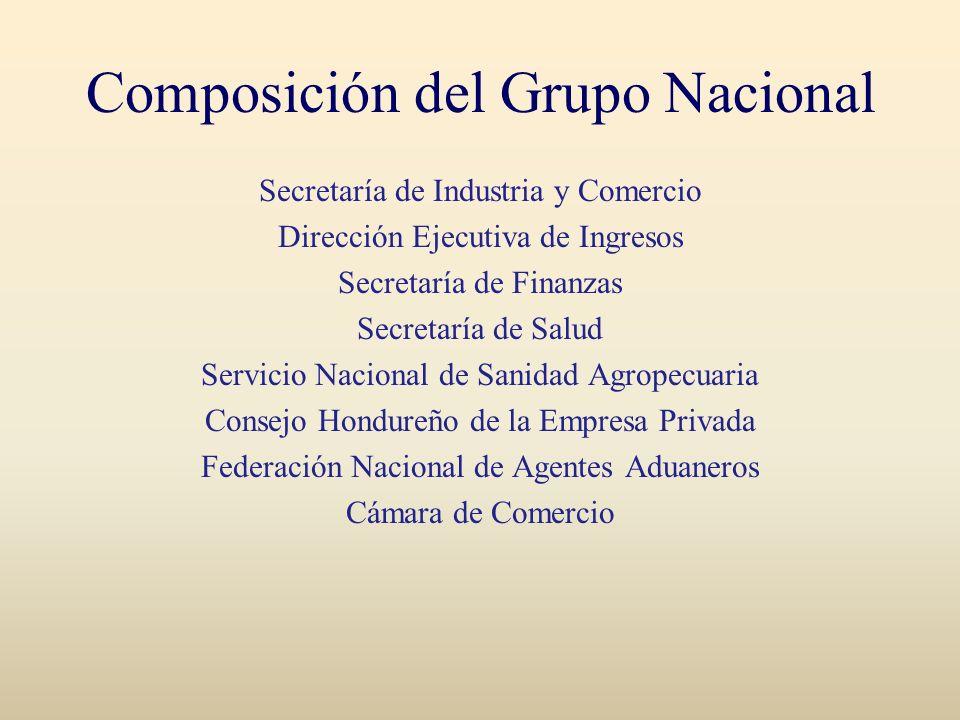 Composición del Grupo Nacional Secretaría de Industria y Comercio Dirección Ejecutiva de Ingresos Secretaría de Finanzas Secretaría de Salud Servicio