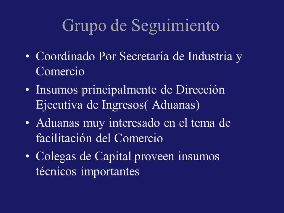 Grupo de Seguimiento Coordinado Por Secretaría de Industria y Comercio Insumos principalmente de Dirección Ejecutiva de Ingresos( Aduanas) Aduanas muy