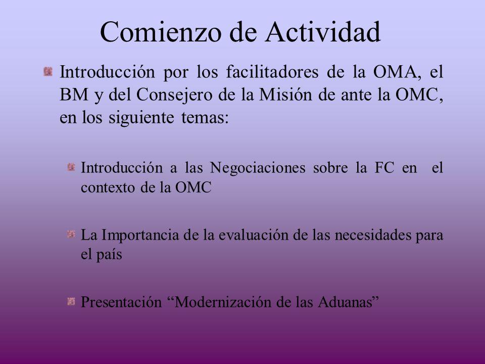 Comienzo de Actividad Introducción por los facilitadores de la OMA, el BM y del Consejero de la Misión de ante la OMC, en los siguiente temas: Introdu