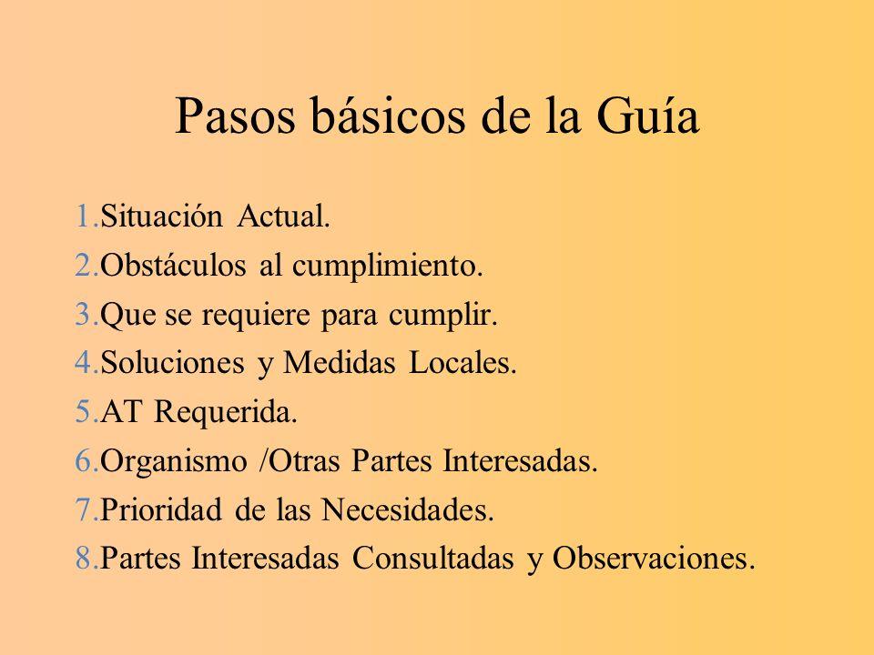 Pasos básicos de la Guía 1.Situación Actual. 2.Obstáculos al cumplimiento. 3.Que se requiere para cumplir. 4.Soluciones y Medidas Locales. 5.AT Requer