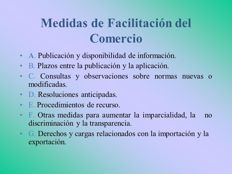 Medidas de Facilitación del Comercio A. Publicación y disponibilidad de información. B. Plazos entre la publicación y la aplicación. C. Consultas y ob