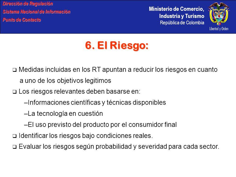 Ministerio de Comercio, Industria y Turismo República de Colombia Dirección de Regulación Sistema Nacional de Información Punto de Contacto 6. El Ries