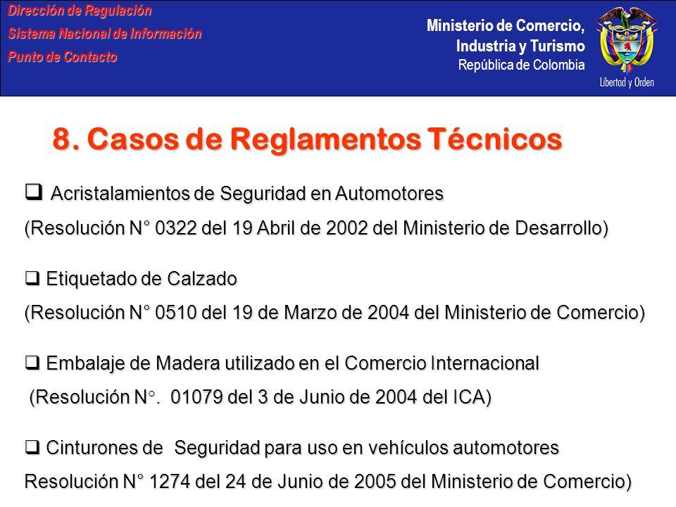 Ministerio de Comercio, Industria y Turismo República de Colombia Dirección de Regulación Sistema Nacional de Información Punto de Contacto 8. Casos d