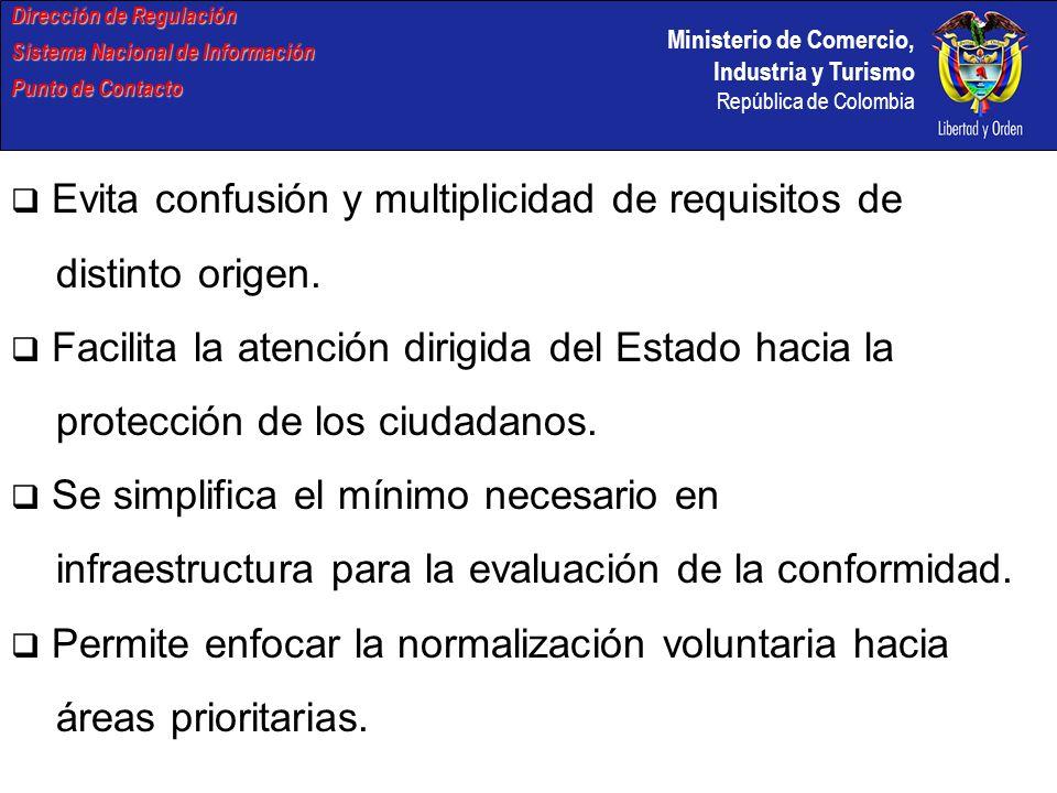 Ministerio de Comercio, Industria y Turismo República de Colombia Dirección de Regulación Sistema Nacional de Información Punto de Contacto Evita confusión y multiplicidad de requisitos de distinto origen.