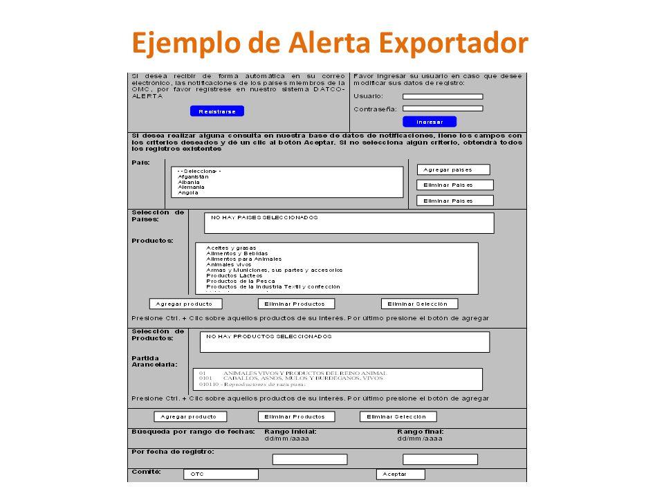 Ejemplo de Alerta Exportador