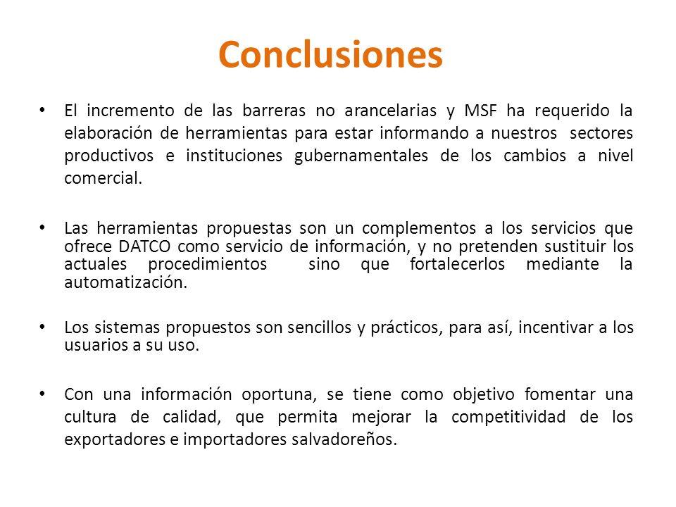 Conclusiones El incremento de las barreras no arancelarias y MSF ha requerido la elaboración de herramientas para estar informando a nuestros sectores