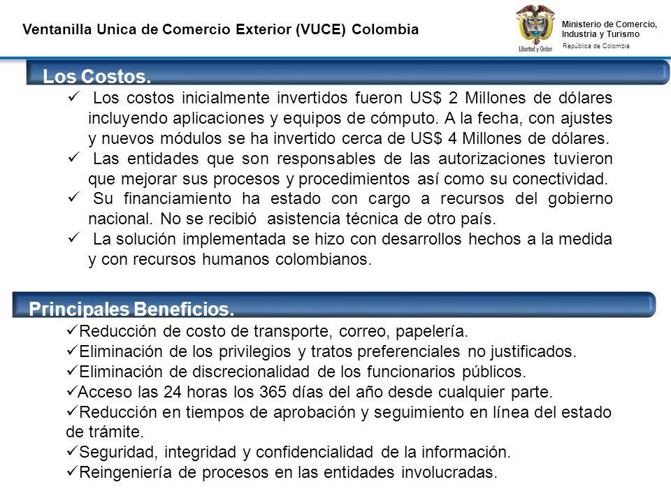 Ministerio de Comercio, Industria y Turismo República de Colombia Ministerio de Comercio, Industria y Turismo República de Colombia Ventanilla Unica de Comercio Exterior (VUCE) Colombia Los Costos.