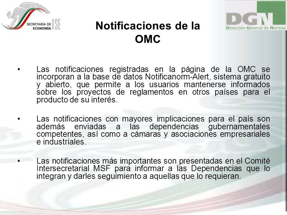 Las notificaciones registradas en la página de la OMC se incorporan a la base de datos Notificanorm-Alert, sistema gratuito y abierto, que permite a l
