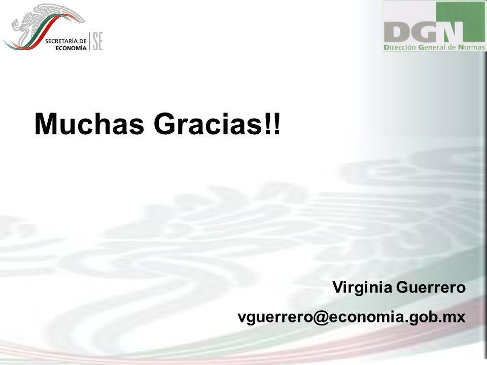 Virginia Guerrero vguerrero@economia.gob.mx Muchas Gracias!!