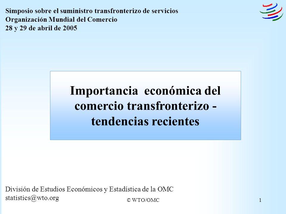 © WTO/OMC1 División de Estudios Económicos y Estadística de la OMC statistics@wto.org Importancia económica del comercio transfronterizo - tendencias