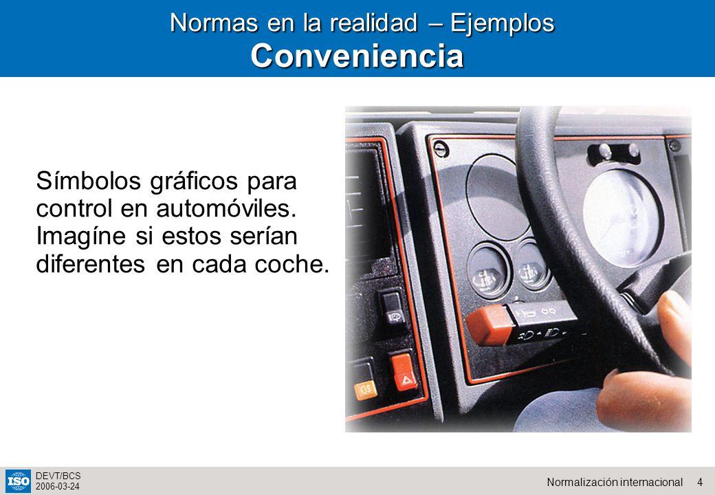 4Normalización internacional DEVT/BCS 2006-03-24 Normas en la realidad – Ejemplos Normas en la realidad – EjemplosConveniencia Símbolos gráficos para control en automóviles.