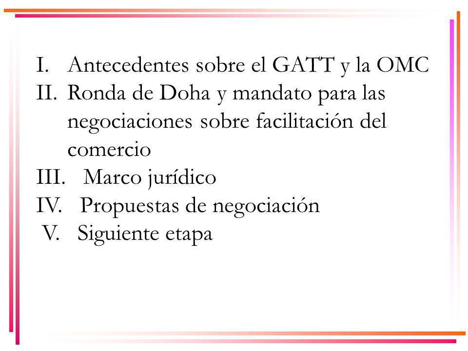 I. Antecedentes sobre el GATT y la OMC II.Ronda de Doha y mandato para las negociaciones sobre facilitación del comercio III. Marco jurídico IV. Propu