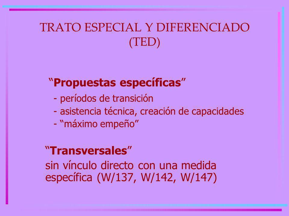 TRATO ESPECIAL Y DIFERENCIADO (TED) Propuestas específicas - períodos de transición - asistencia técnica, creación de capacidades - máximo empeño Transversales sin vínculo directo con una medida específica (W/137, W/142, W/147)