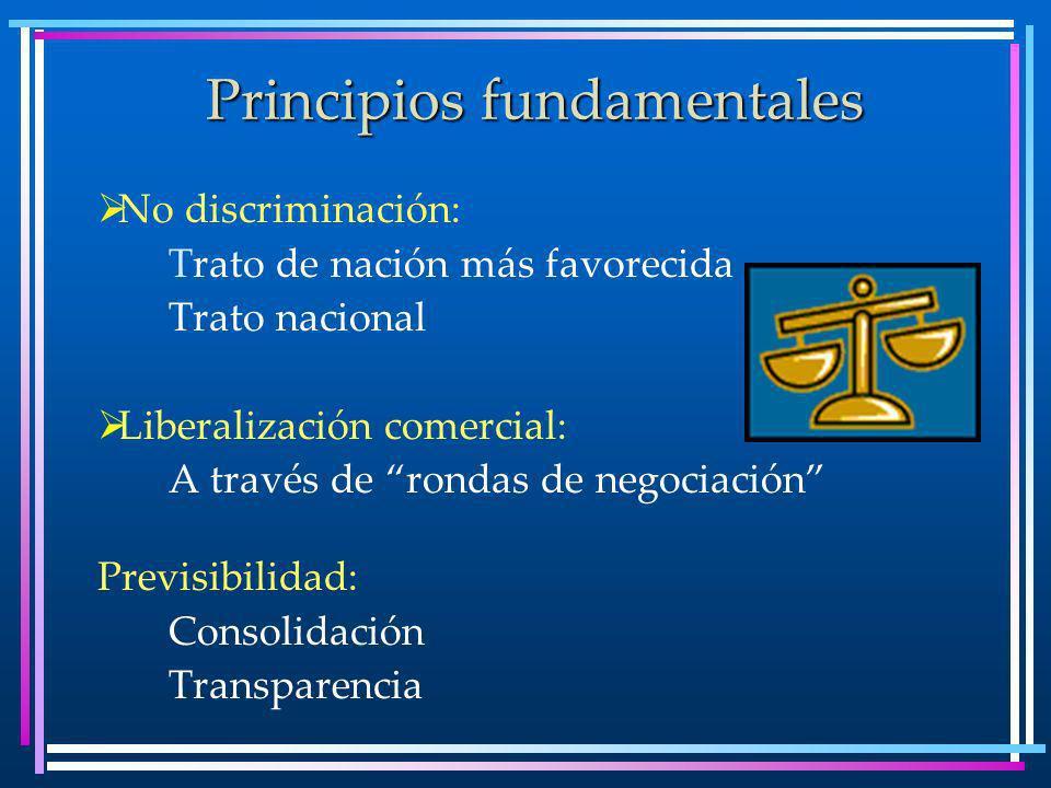 Principios fundamentales No discriminación: Trato de nación más favorecida Trato nacional Liberalización comercial: A través de rondas de negociación Previsibilidad: Consolidación Transparencia