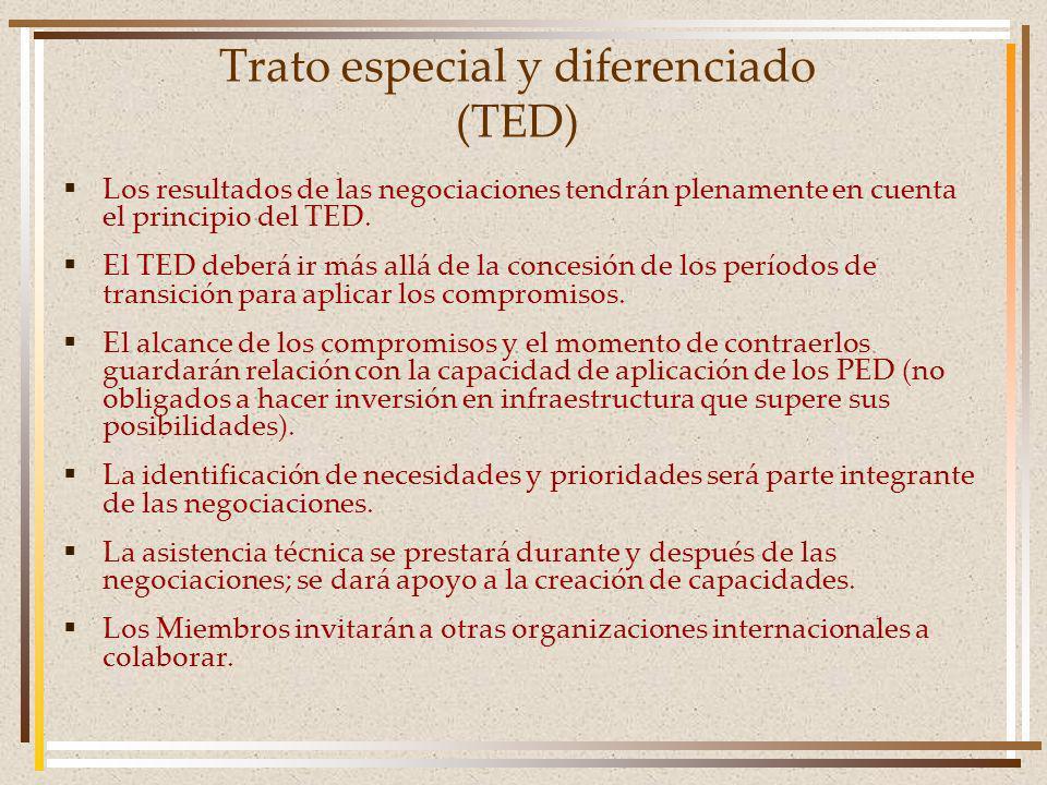 Trato especial y diferenciado (TED) Los resultados de las negociaciones tendrán plenamente en cuenta el principio del TED.