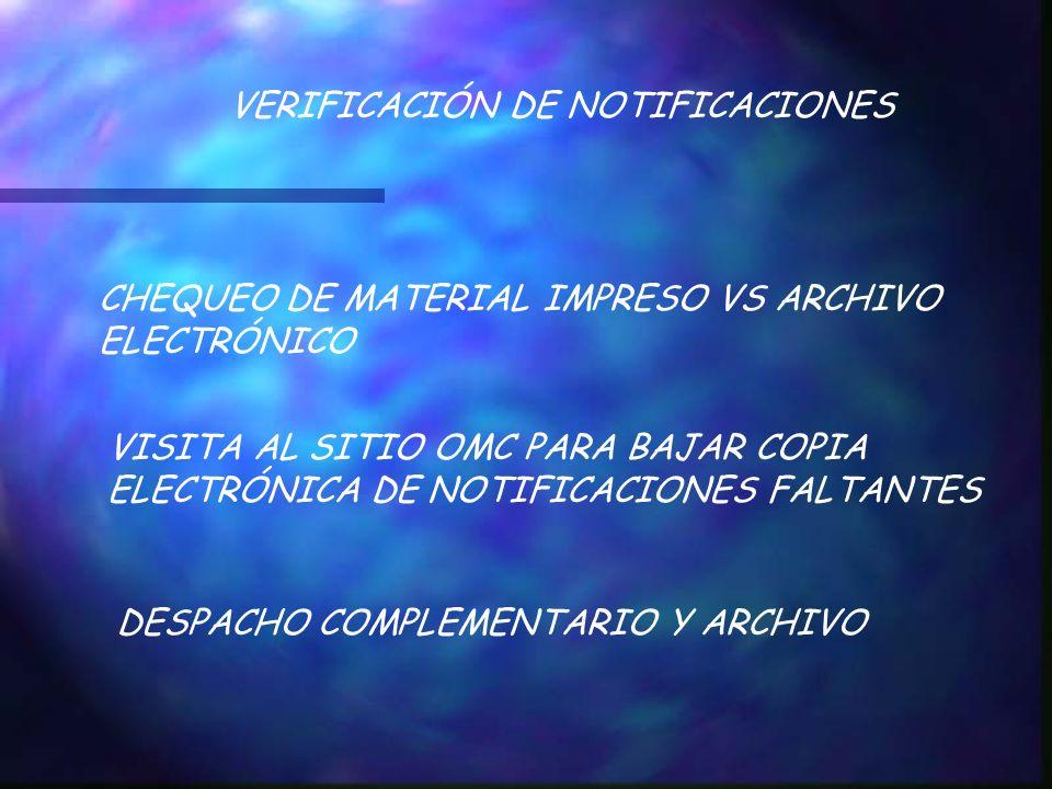 VERIFICACIÓN DE NOTIFICACIONES CHEQUEO DE MATERIAL IMPRESO VS ARCHIVO ELECTRÓNICO VISITA AL SITIO OMC PARA BAJAR COPIA ELECTRÓNICA DE NOTIFICACIONES F