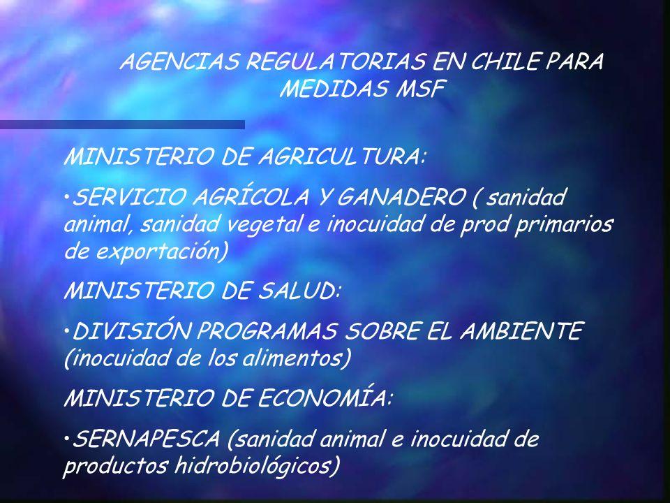 AGENCIAS REGULATORIAS EN CHILE PARA MEDIDAS MSF MINISTERIO DE AGRICULTURA: SERVICIO AGRÍCOLA Y GANADERO ( sanidad animal, sanidad vegetal e inocuidad