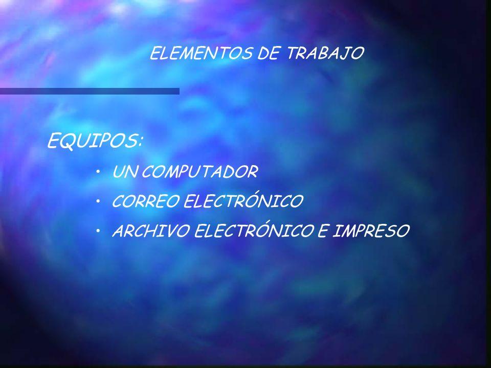 ELEMENTOS DE TRABAJO EQUIPOS: UN COMPUTADOR CORREO ELECTRÓNICO ARCHIVO ELECTRÓNICO E IMPRESO