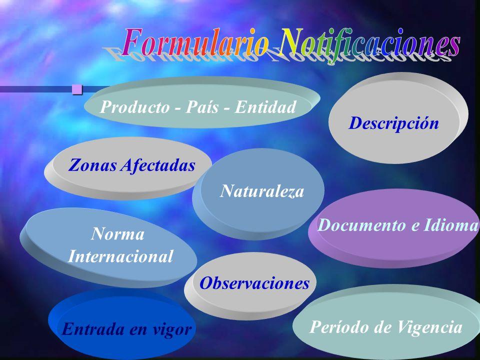 Producto - País - Entidad Zonas Afectadas Descripción Norma Internacional Documento e Idioma Observaciones Entrada en vigor Período de Vigencia Natura