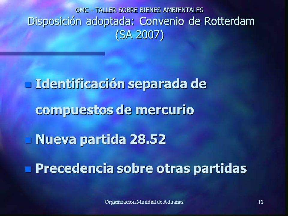 Organización Mundial de Aduanas11 OMC - TALLER SOBRE BIENES AMBIENTALES Disposición adoptada: Convenio de Rotterdam (SA 2007) n Identificación separad