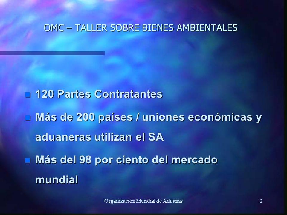 Organización Mundial de Aduanas2 OMC – TALLER SOBRE BIENES AMBIENTALES n 120 Partes Contratantes n Más de 200 países / uniones económicas y aduaneras