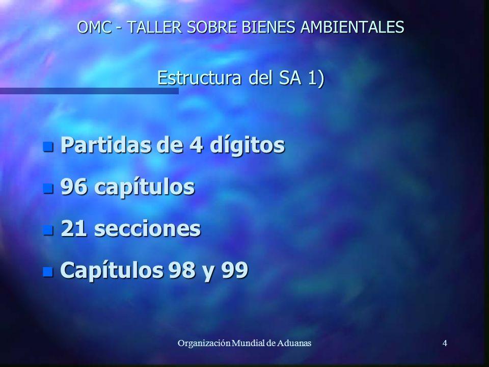 Organización Mundial de Aduanas4 OMC - TALLER SOBRE BIENES AMBIENTALES Estructura del SA 1) n Partidas de 4 dígitos n 96 capítulos n 21 secciones n Ca