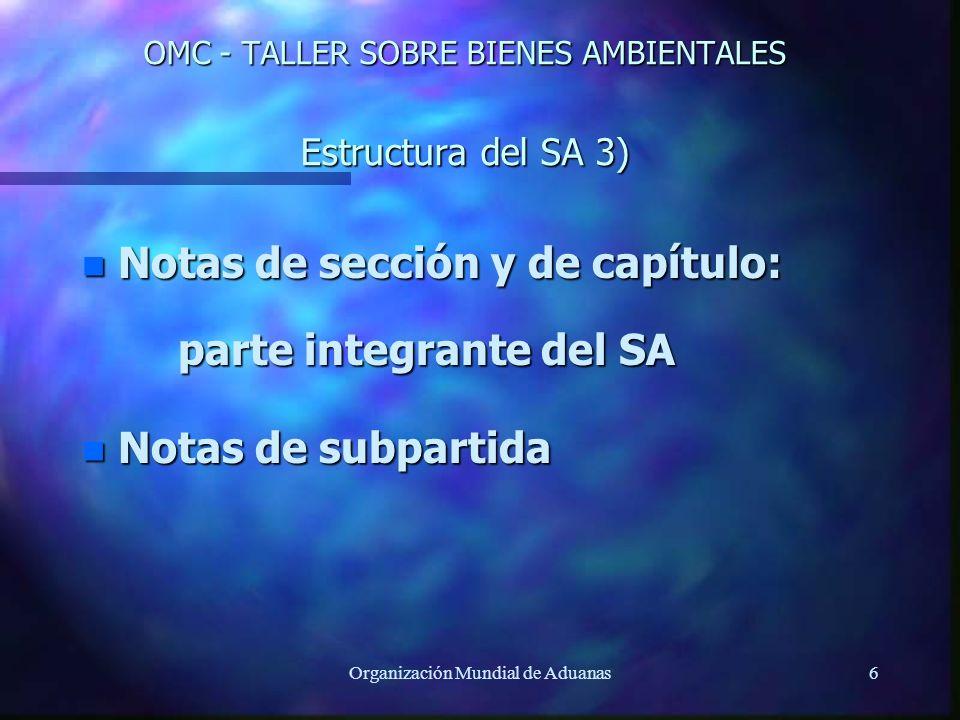 Organización Mundial de Aduanas6 OMC - TALLER SOBRE BIENES AMBIENTALES Estructura del SA 3) n Notas de sección y de capítulo: parte integrante del SA