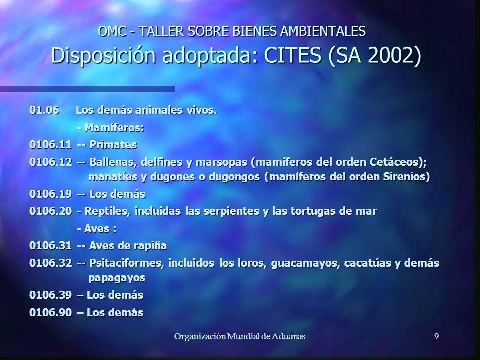 Organización Mundial de Aduanas9 OMC - TALLER SOBRE BIENES AMBIENTALES Disposición adoptada: CITES (SA 2002) 01.06 Los demás animales vivos. - Mamífer