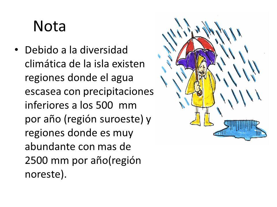 Nota Debido a la diversidad climática de la isla existen regiones donde el agua escasea con precipitaciones inferiores a los 500 mm por año (región su