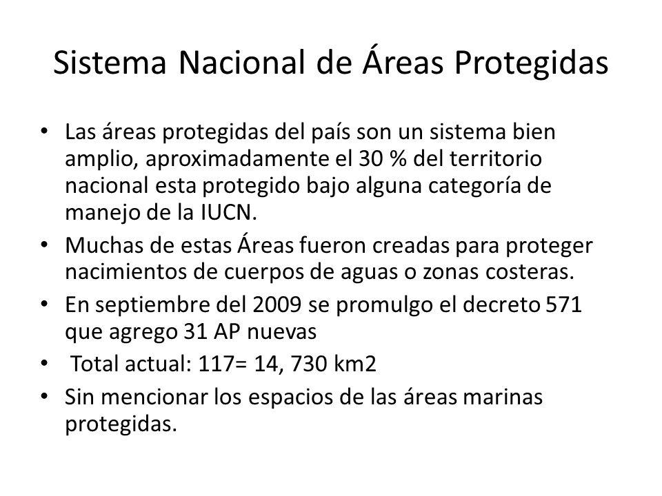 Sistema Nacional de Áreas Protegidas Las áreas protegidas del país son un sistema bien amplio, aproximadamente el 30 % del territorio nacional esta pr