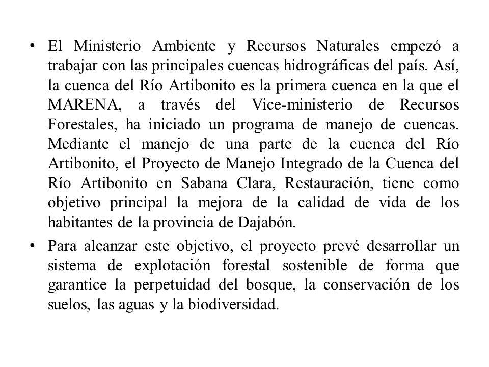 El Ministerio Ambiente y Recursos Naturales empezó a trabajar con las principales cuencas hidrográficas del país. Así, la cuenca del Río Artibonito es