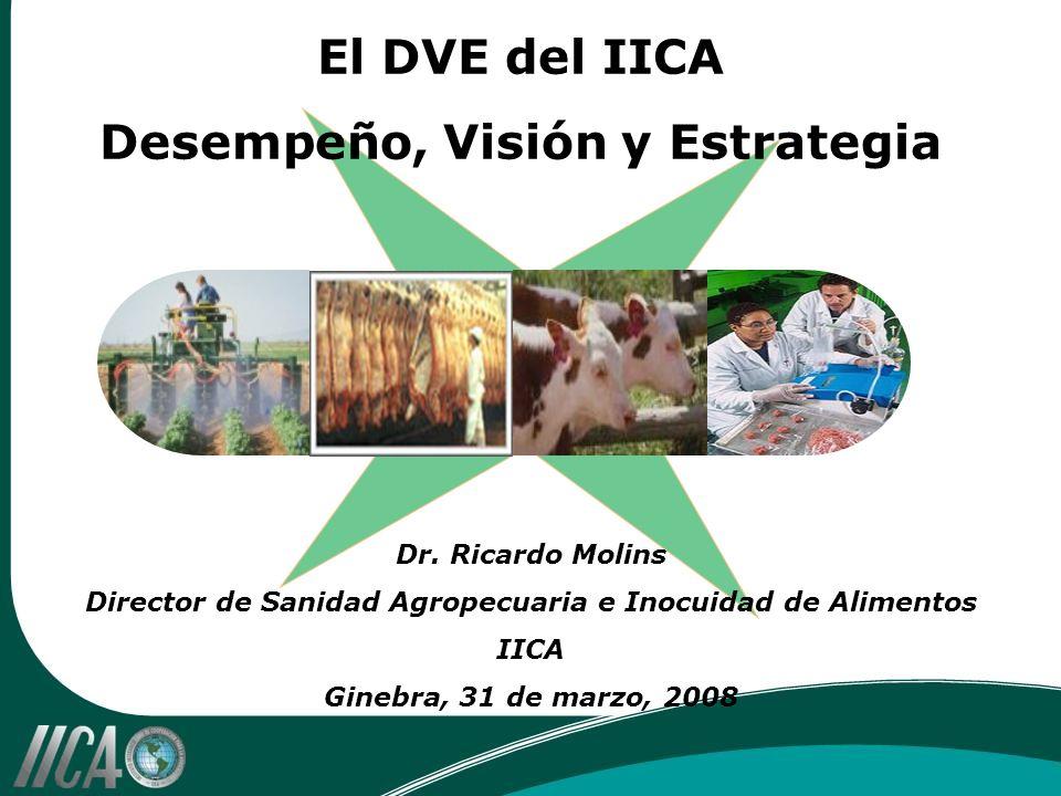 Dr. Ricardo Molins Director de Sanidad Agropecuaria e Inocuidad de Alimentos IICA Ginebra, 31 de marzo, 2008 El DVE del IICA Desempeño, Visión y Estra