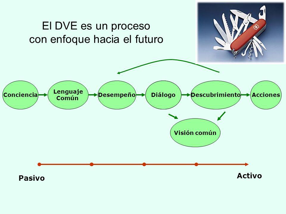 Conciencia Lenguaje Común DesempeñoAccionesDescubrimientoAccionesDiálogo Pasivo Activo Visión común El DVE es un proceso con enfoque hacia el futuro