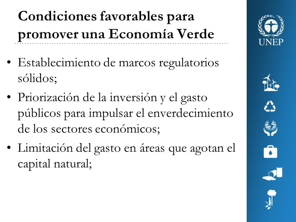 Condiciones favorables para promover una Economía Verde Aplicación de impuestos e instrumentos basados en el mercado para modificar las preferencias de los consumidores y estimular la inversión verde y la innovación; Inversión en desarrollo de capacidades y formación; y Fortalecimiento de la gobernanza internacional.