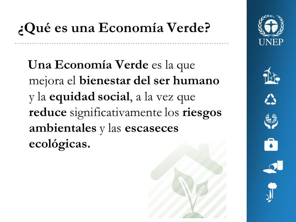 En otras palabras… En una Economía Verde el aumento de los ingresos y la creación de empleos se derivan de inversiones destinadas a: –reducir emisiones de carbono y contaminación, –promover la eficiencia, –promover patrones de producción y consumo sostenibles, y –proteger la diversidad biológica y los servicios de los ecosistemas.