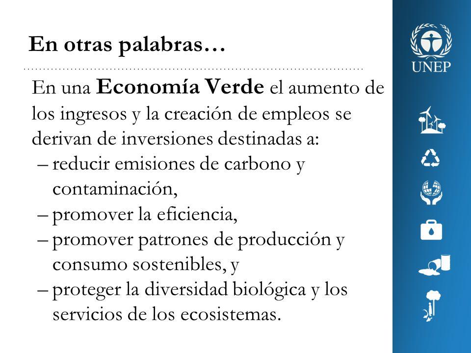 Economía Verde y Desarrollo Sostenible Economía Verde en el contexto del desarrollo sostenible y la erradicación de la pobreza.