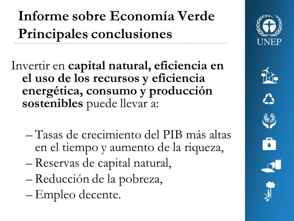 Informe sobre Economía Verde Principales conclusiones Invertir o reasignar sólo el 2% del PIB global a 10 sectores principales permitiría iniciar la transición hacia una economía baja en carbono y eficiente en el uso de recursos, que sea sustentable en el largo plazo.