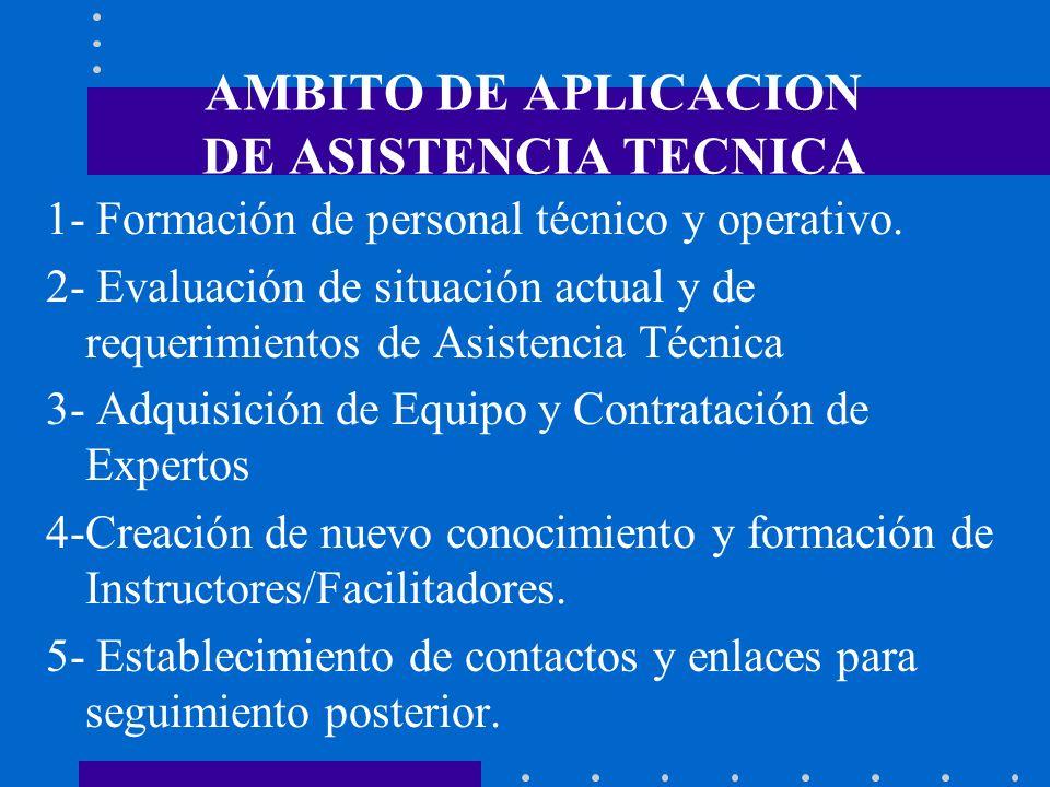 AMBITO DE APLICACION DE ASISTENCIA TECNICA 1- Formación de personal técnico y operativo. 2- Evaluación de situación actual y de requerimientos de Asis