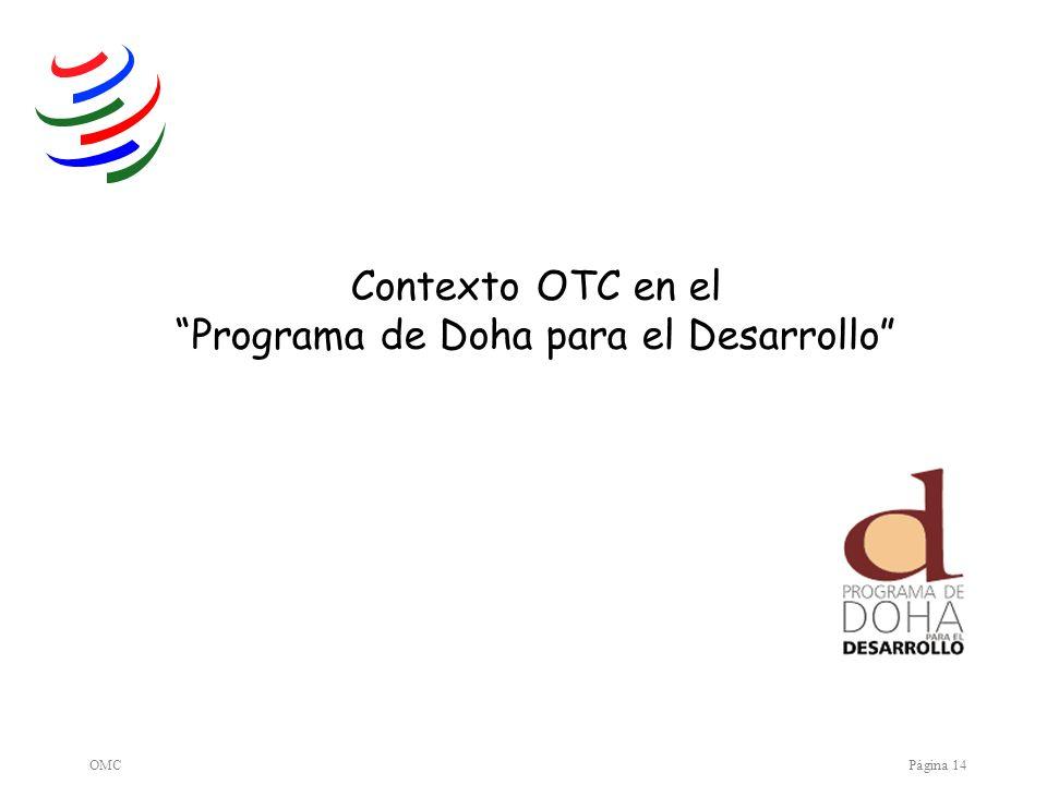OMCPágina 14 Contexto OTC en el Programa de Doha para el Desarrollo
