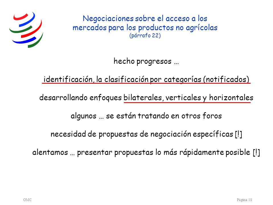 OMCPágina 18 hecho progresos … identificación, la clasificación por categorías (notificados) desarrollando enfoques bilaterales, verticales y horizont