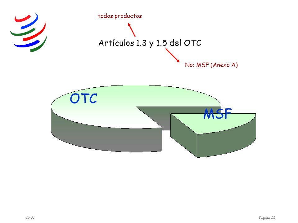 OMCPágina 22 OTC MSF Artículos 1.3 y 1.5 del OTC todos productos No: MSF (Anexo A)