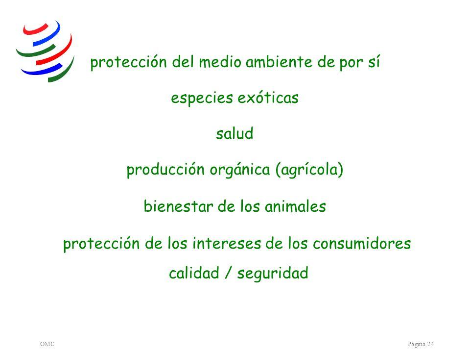 OMCPágina 24 producción orgánica (agrícola) protección del medio ambiente de por sí especies exóticas calidad / seguridad bienestar de los animales pr