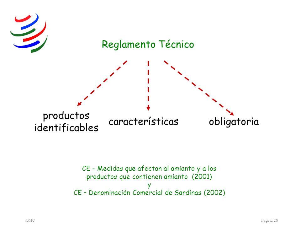 OMCPágina 28 productos identificables características obligatoria CE - Medidas que afectan al amianto y a los productos que contienen amianto (2001) y