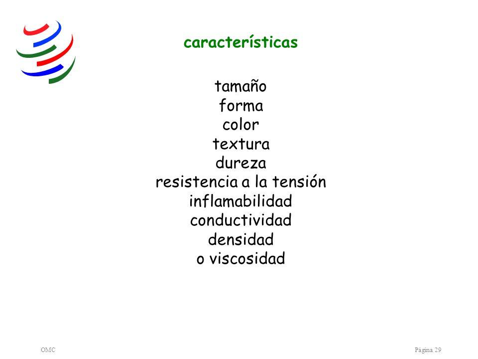 OMCPágina 29 tamaño forma color textura dureza resistencia a la tensión inflamabilidad conductividad densidad o viscosidad características