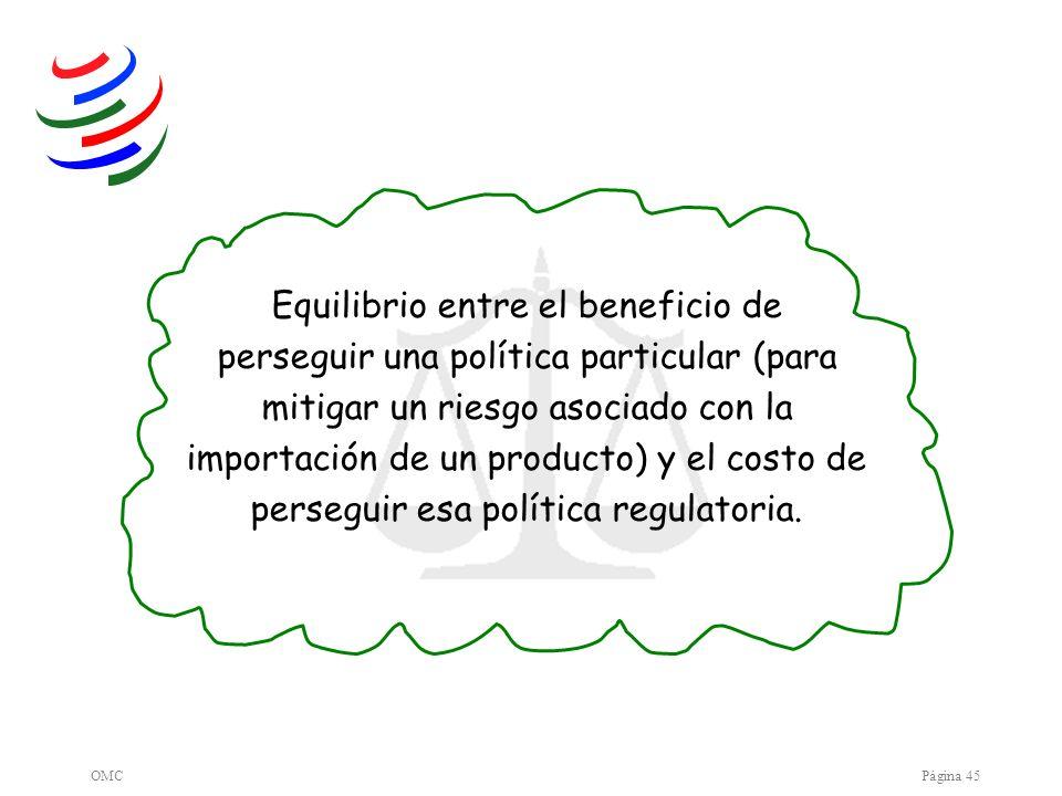 OMCPágina 45 Equilibrio entre el beneficio de perseguir una política particular (para mitigar un riesgo asociado con la importación de un producto) y