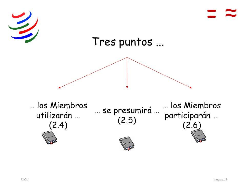 OMCPágina 51 … los Miembros utilizarán … (2.4) … se presumirá … (2.5) … los Miembros participarán … (2.6) = Tres puntos...