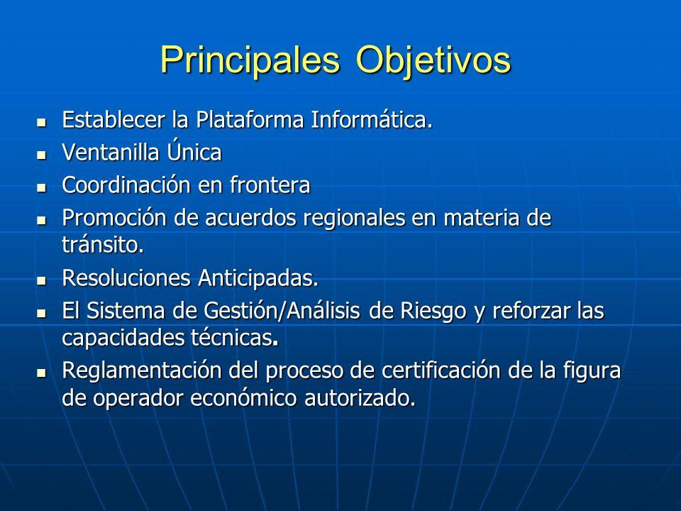 Principales Objetivos Establecer la Plataforma Informática.