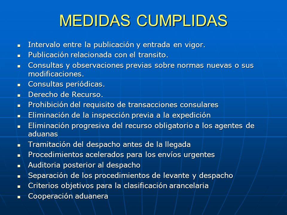 MEDIDAS CUMPLIDAS Intervalo entre la publicación y entrada en vigor.