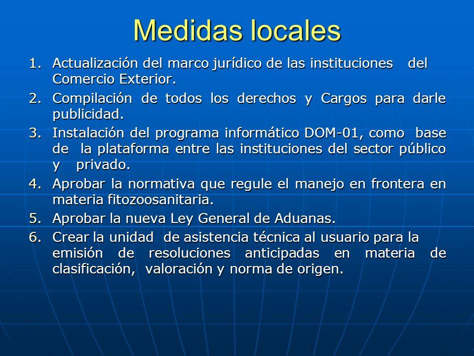 Medidas locales 1.Actualización del marco jurídico de las instituciones del Comercio Exterior.