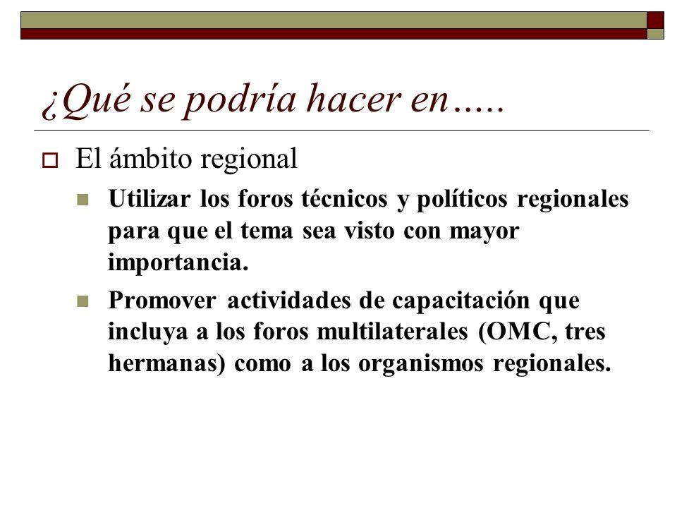 ¿Qué se podría hacer en….. El ámbito regional Utilizar los foros técnicos y políticos regionales para que el tema sea visto con mayor importancia. Pro